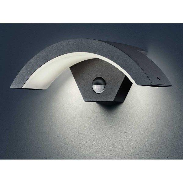 led au enwandleuchte au enwandlampe outdoor mit bewegungsmelder anthrazit neu ebay. Black Bedroom Furniture Sets. Home Design Ideas