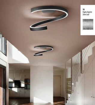 Braga Spira LED ceiling light 60cm silver leaf 2130/PL60 M13, dimmable