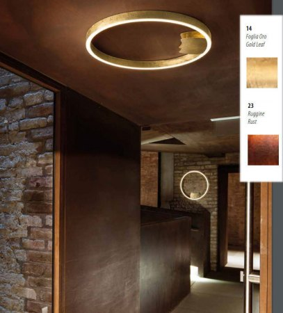 Braga Loop LED wall/ceiling light 60cm rust/gold leaf 2129/PL60 M-23/14, dimmable