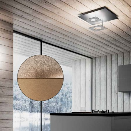 Icone Petra 2 LED ceiling lamp adjustable, ecru / brass satin