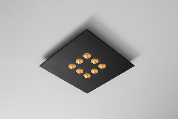 Icone Confort LED ceiling light, black gold leaf, dimmable, 8 fl.