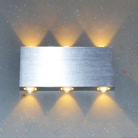 Rectangular LED outdoor wall luminaire matt chrome