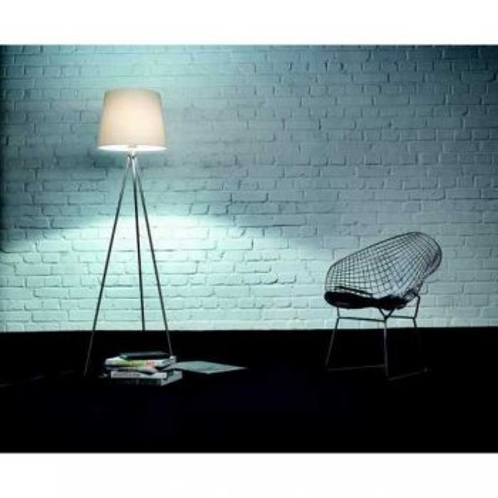 Floor lamp fabric shade 41.948.05 matt nickel including screen Knapstein