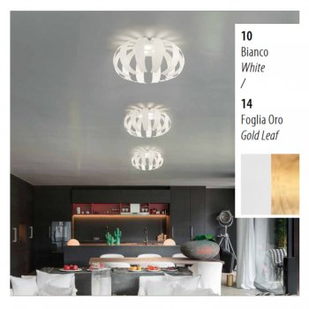 GEO LED Deckenleuchte 3 Flg Weiß/blattgold Braga 2123/PL50 C 10