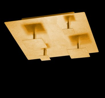 SET LED Deckenleuchte 4-flg 16 Watt 30x30cm goldfrb. Honsel 26442
