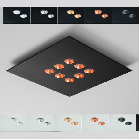 Icone Confort LED ceiling light 8flg. colour selection, dimmable, 2,700K