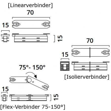 NEW Top Light Mini Track (4) Linearverbinder