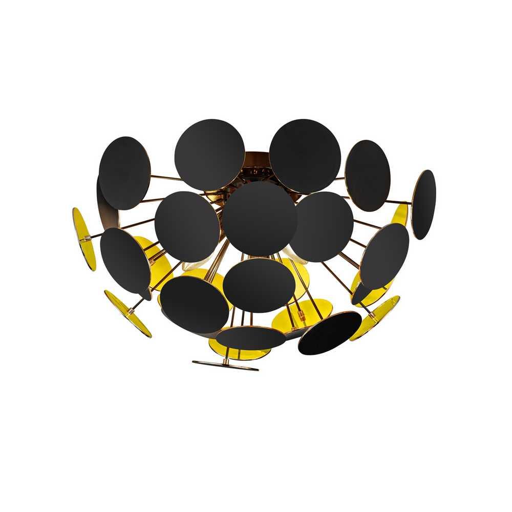 deckenleuchte schwarz matt goldfarbig kunststoffscheiben. Black Bedroom Furniture Sets. Home Design Ideas