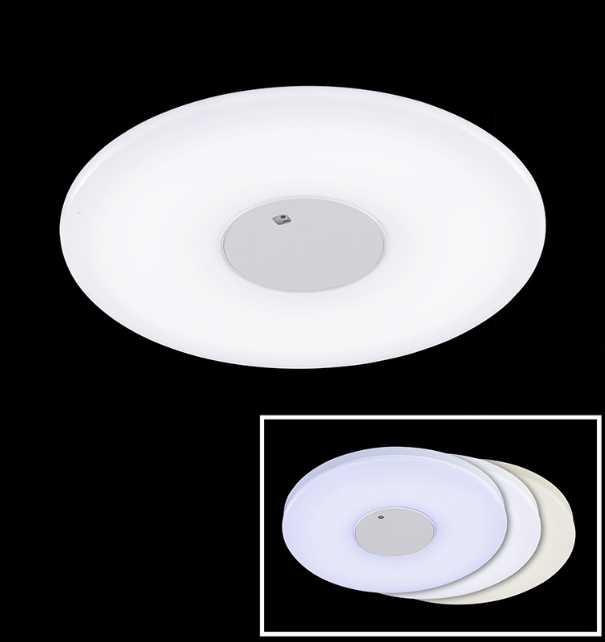 Runde led deckenleuchte weiss silber 60cm dimmbar for Led lampen deckenleuchten