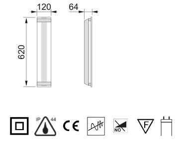 badezimmerlampe linar 62cm x 12cm. Black Bedroom Furniture Sets. Home Design Ideas
