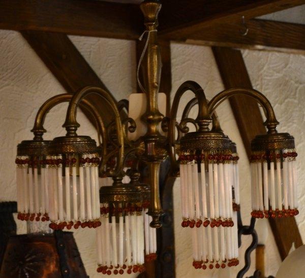 antike deckenleuchte 9 arme mit glasperlen schr der. Black Bedroom Furniture Sets. Home Design Ideas