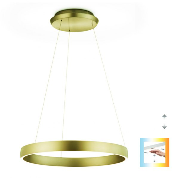 Knapstein Sara SA Ø 60cm ring light with gesture control dimmable - gold lacquered