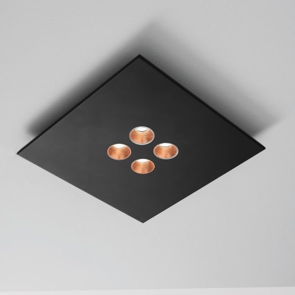 Icone Confort LED ceiling light 4-light black/copper leaf, dimmable