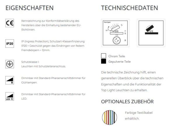 Top Light Led Tischstrahler Puk Spot Farbauswahl 360